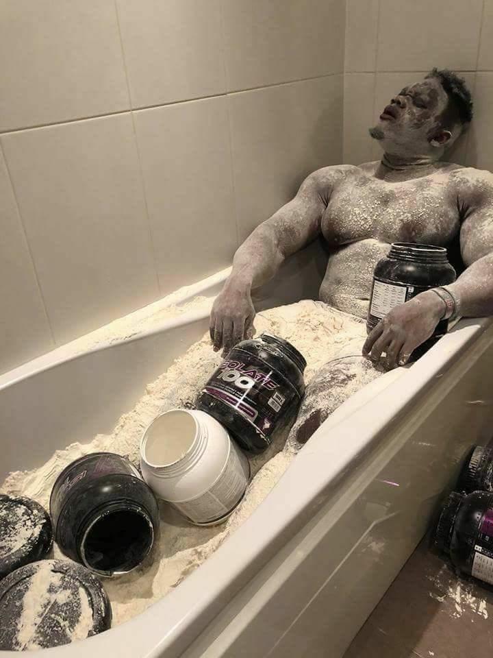 Protein powder in the bathtub